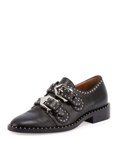 Elegant Studded Double-Monk Oxford, Black