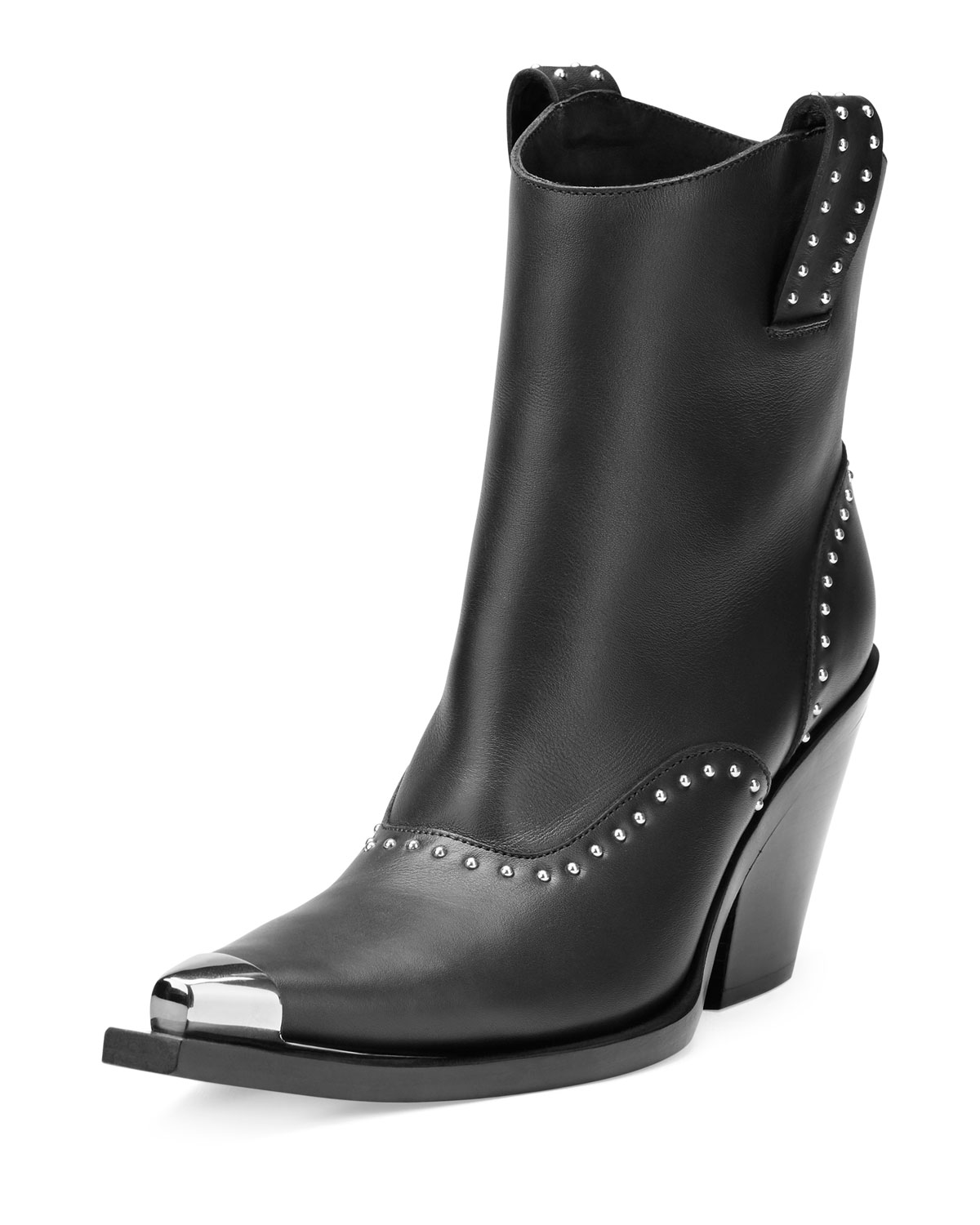 Studded Leather Western Boot, Black