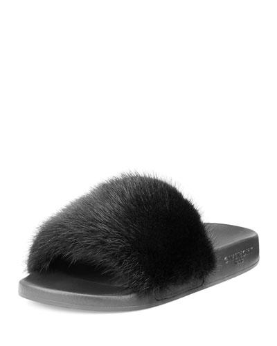 Mink-Fur Flat Slide Sandal, Black/White