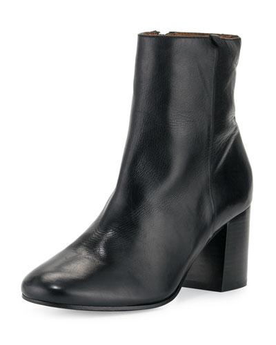 Jodi Leather Block-Heel Bootie, Black
