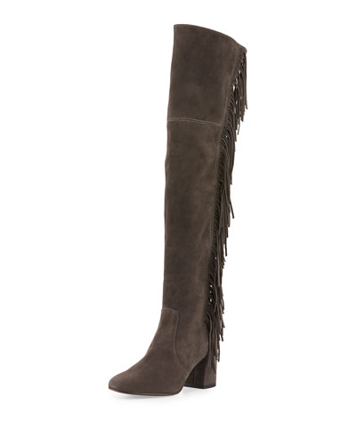 Jodi Fringe Suede Over-The-Knee Boot, Smoke