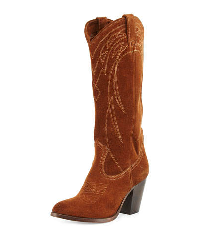 Ilana Embroidered Suede Western Boot, Wood