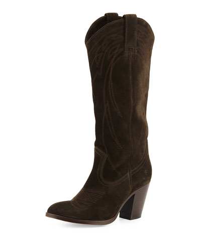 Ilana Embroidered Suede Western Boot, Fatigue