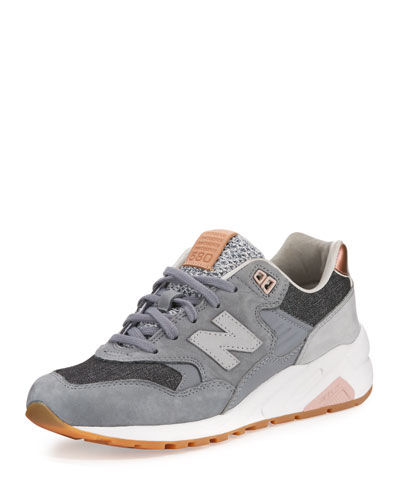 580 Suede Low-Top Sneaker, Gray