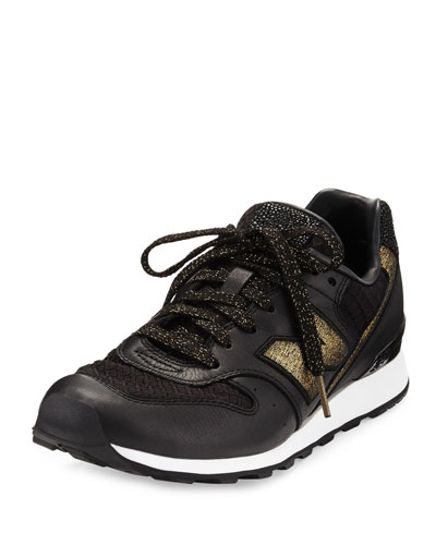 Embossed Leather Sneaker, Black/Gold