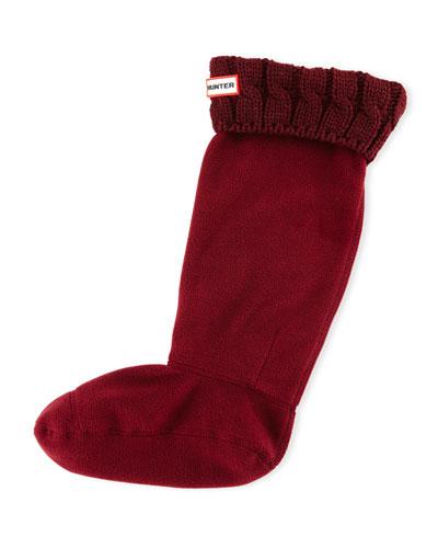 Six-Stitch Cable Boot Socks, Dulse Bordeaux
