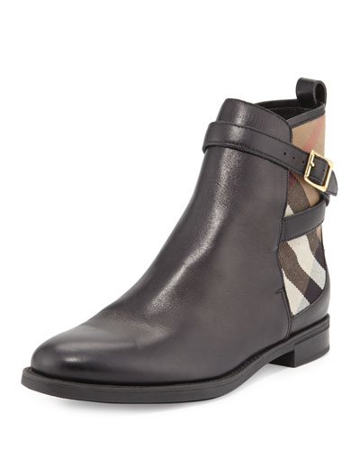 Richardson Leather & Check Bootie, Black