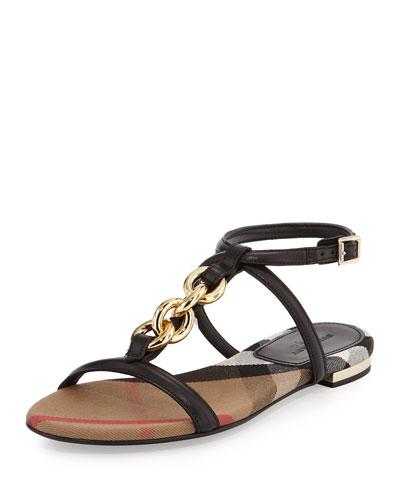 Reasonson Leather T-Strap Sandal, Black