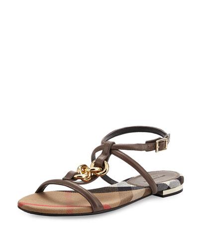 Reasonson Leather T-Strap Sandal, Mink Gray