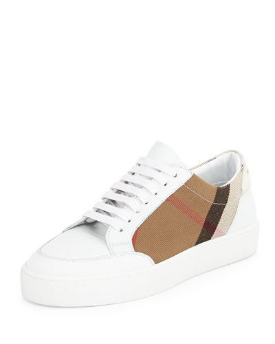 Salmond Check & Leather Sneaker, House Check/Optic White