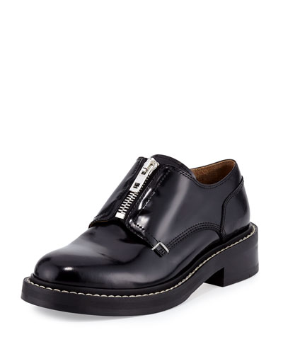 Saxon Zip-Front Leather Loafer, Black