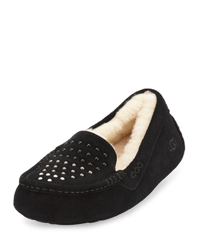 Ansley Pearly Suede Slipper, Black
