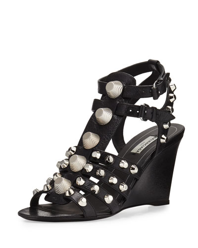 Studded Caged Wedge Sandal, Noir/Silver