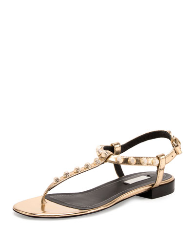 Studded Leather T-Strap Sandal, Gold