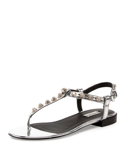 Studded Leather T-Strap Sandal, Argento/Silver