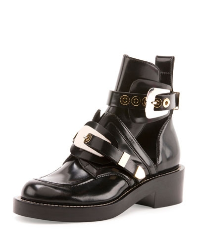 Buckle Leather 35mm Bootie, Black