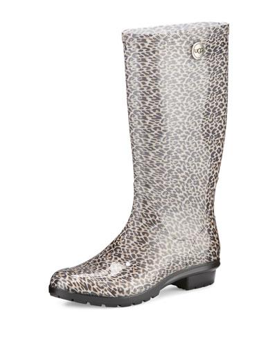 Shaye Leopard-Print Rain Boot, Black