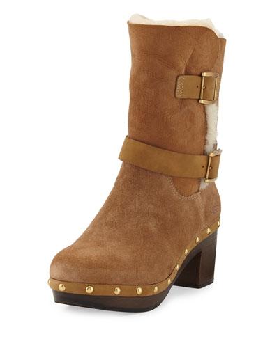 Brea Shearling Wood-Heel Boot, Chestnut