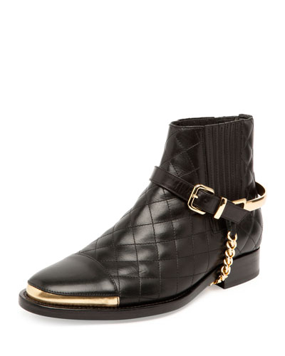 Quilted Chain-Harness Bootie, Noir