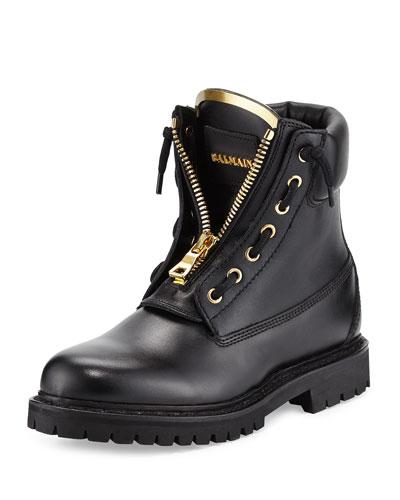 Taiga Leather Zip-Front Ranger Boot, Noir