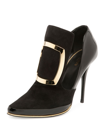 Suede Buckle 110mm Bootie, Noir