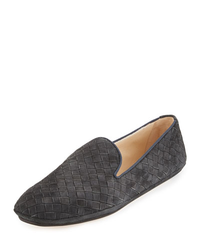 Intrecciato Suede Smoking Slipper, Gray