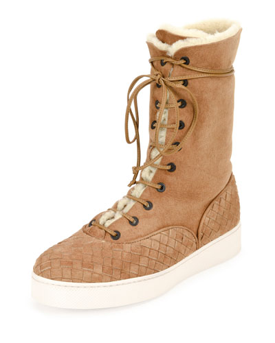 Intrecciato-Trim Shearling Fur Mid-Calf Boot, Camel