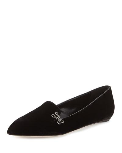 Winona Velvet Pointed-Toe Flat, Black