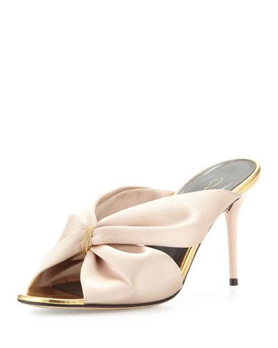Glenn Satin 85mm Slide Sandal, Bisque
