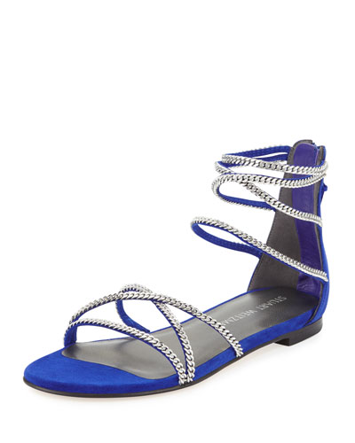 Chaindown Strappy Flat Sandal, Electric Blue