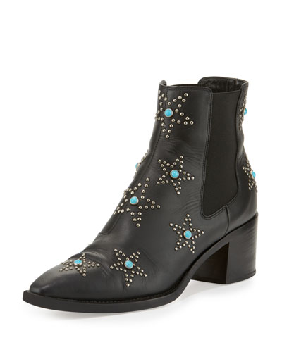 Hologram Star-Studded Leather Boot, Nero/Antique Silver
