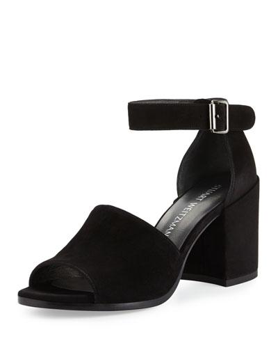 Sohogal Suede City Sandal, Black