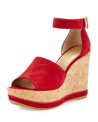 Sohogal Suede Wedge Sandal, Pomodoro
