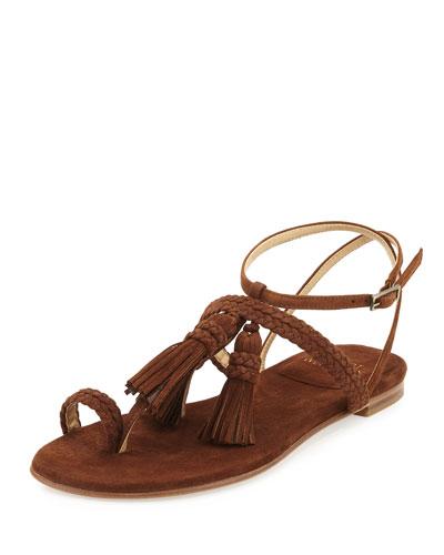 Tasselites Suede Tassel Flat Thong Sandal, Walnut