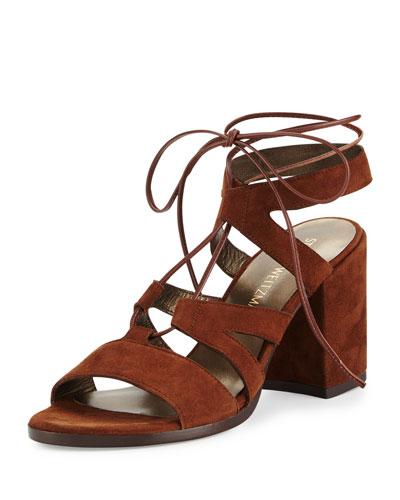 Bigtiegirl Suede Lace-Up Sandal, Walnut