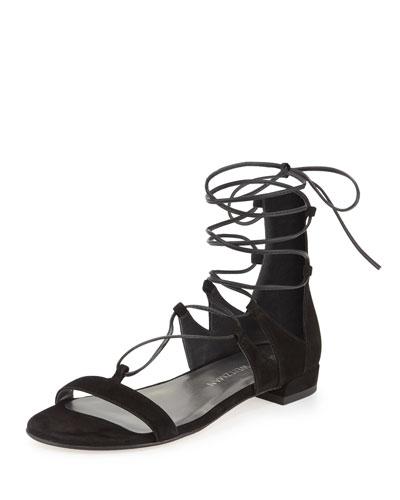 Tieup Suede Flat Gladiator Sandal, Black