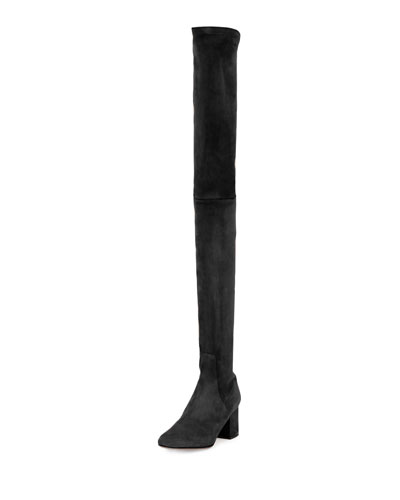 Stretch Suede Over-The-Knee Boot, Nero
