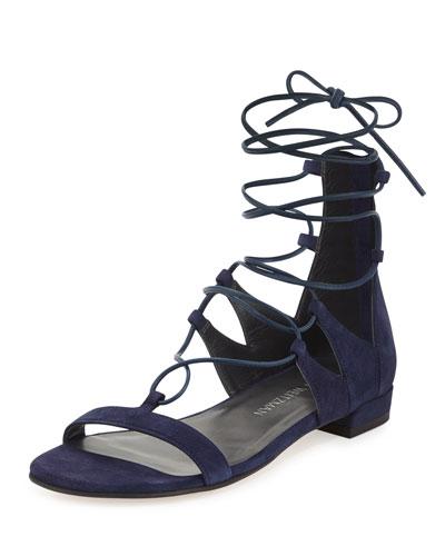 Tieup Suede Flat Gladiator Sandal, Baltic Blue