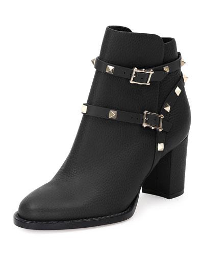 Rockstud Leather Chunky-Heel Boot, Nero