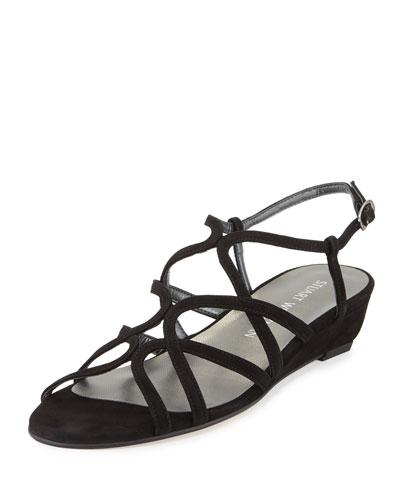 Turningdown Suede Demi-Wedge Sandal, Black