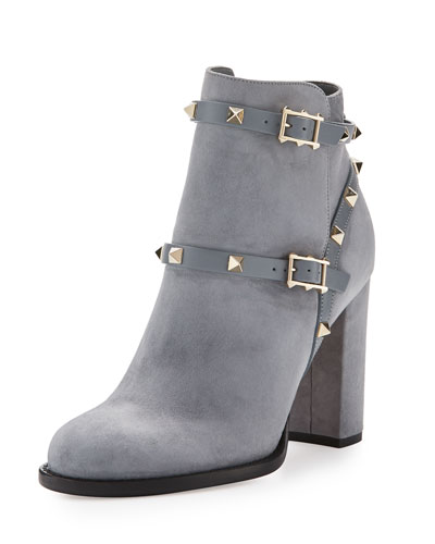 Rockstud Suede 100mm Ankle Boot, Light Gray