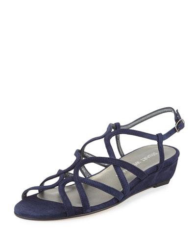 Turningdown Suede Demi-Wedge Sandal, Baltic Blue
