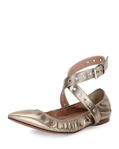 Love Latch Metallic Ankle-Wrap Flat, Alba