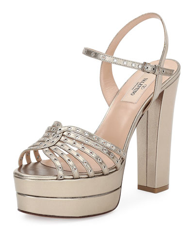 Love Latch Metallic Platform Sandal, Alba
