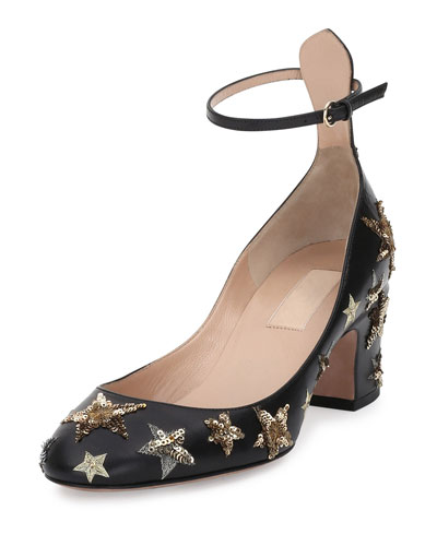 Star-Studded Low-Heel Ankle-Strap Pump, Nero/Al Campione