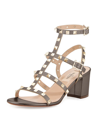 Rockstud Leather 60mm City Sandal, Sasso