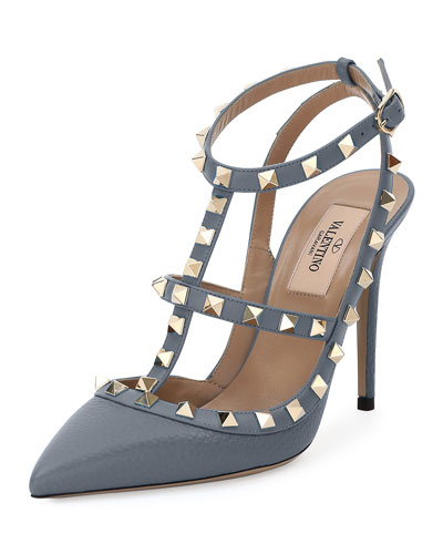 Rockstud Slingback 100mm Pump, Light Stone