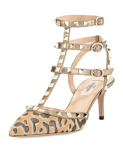 Rockstud Calf-Hair 65mm Pump, Fucile/Al Campion
