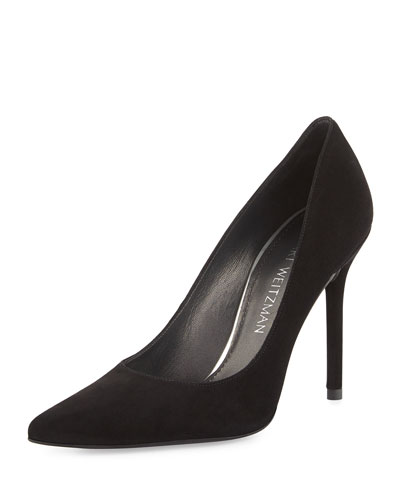 Nouveau Suede Pointed-Toe Pump, Black