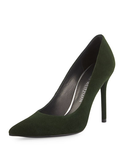 Nouveau Suede Pointed-Toe Pump, Forest
